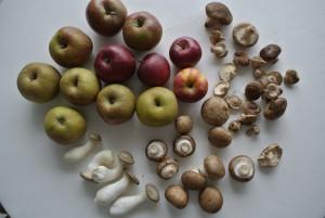 Äpfel und Pilze, 5 Kräuter-Seitlinge sind dabei!